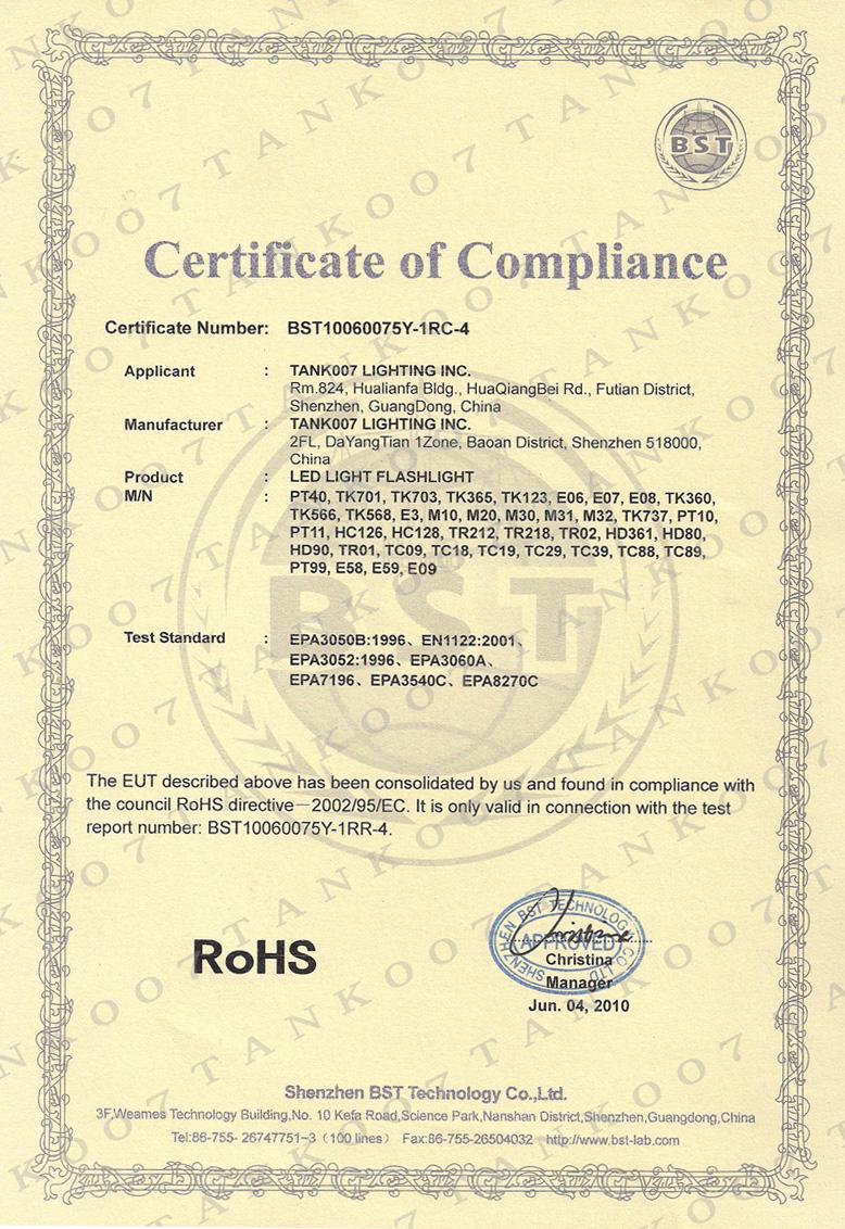 Certificate-ROHS
