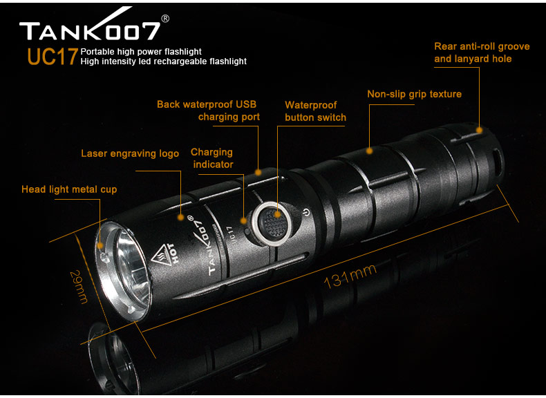 UC17 USB Rechargeable Flashlight tank007