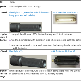 TANK007 Product Change Notification of TK737 extension tube