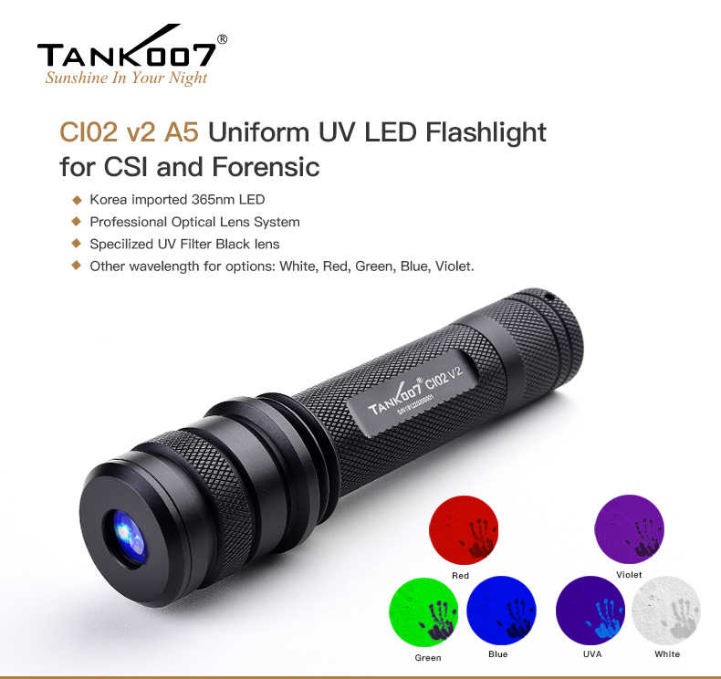 Ci02 V2 A5 Uniform Uv Led Flashlight For Csi And Forensic Tank007 Led Flashlight